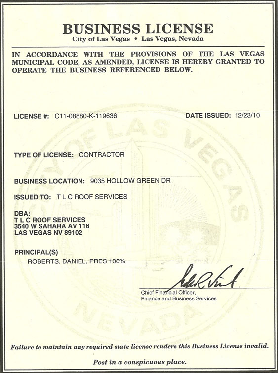 License on Liability Insurance Certificate